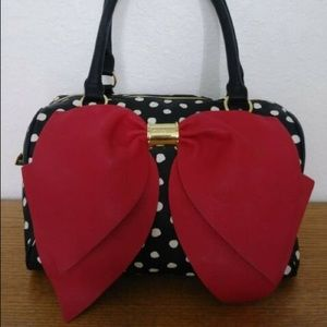 Betsey Johnsons polka dot w/ red bow purse